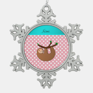 Personalized name sloth pink polka dots ornaments