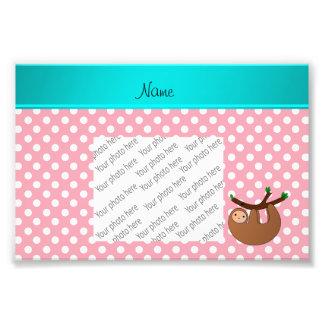 Personalized name sloth pink polka dots art photo