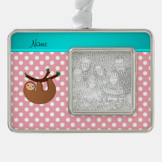 Personalized name sloth pink polka dots silver plated framed ornament