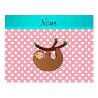 Personalized name sloth pink polka dots postcard
