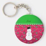 Personalized name snowman pink trees bows basic round button keychain