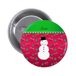 Personalized name snowman pink trees bows buttons
