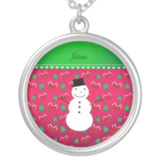 Personalized name snowman pink trees bows necklaces