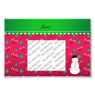 Personalized name snowman pink trees bows photo art