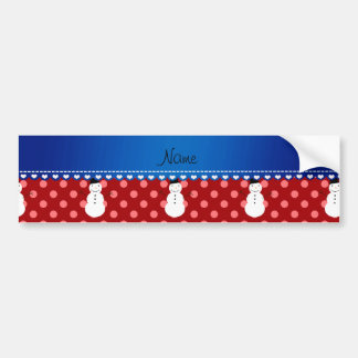 Personalized name snowman red polka dots bumper stickers