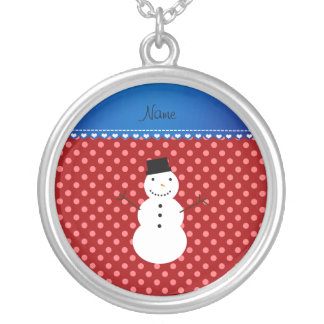 Personalized name snowman red polka dots pendant