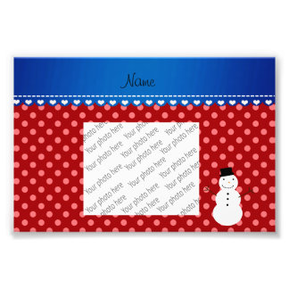 Personalized name snowman red polka dots photo art