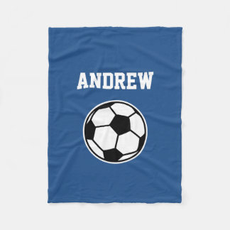 Personalized name soccer ball fleece blanket