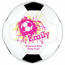 Personalized name soccer defensive girls pink soccer ball