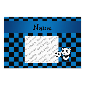 Personalized name soccer panda checkers photographic print
