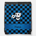 Personalized name soccer panda checkers drawstring bags