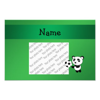 Personalized name soccer panda green art photo