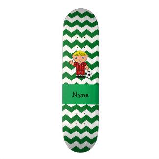 Personalized name soccer player green chevrons custom skate board