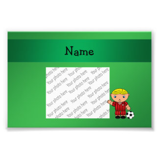 Personalized name soccer player green photographic print