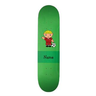 Personalized name soccer player green skateboard decks
