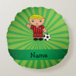 Personalized name soccer player green sunburst round pillow