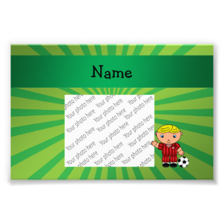 Personalized name soccer player green sunburst photograph