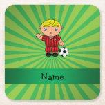 Personalized name soccer player green sunburst square paper coaster