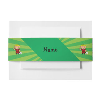 Personalized name soccer player green sunburst invitation belly band