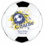 Personalized Name Soccer Strike Goal Blue Graphic Soccer Ball at Zazzle
