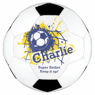 Personalized name soccer strike goal blue graphic soccer ball