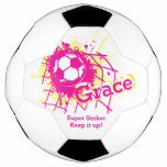 Personalized Name Soccer Strike Goal Girls Pink Soccer Ball at Zazzle