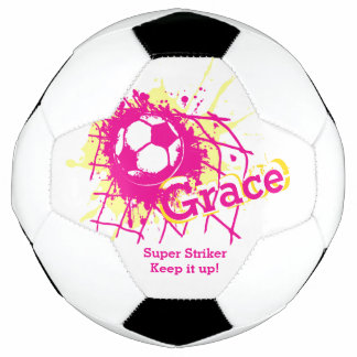 Personalized name soccer strike goal girls pink soccer ball