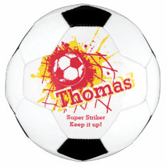 Personalized Name Soccer Strike Goal Red Graphic Soccer Ball at Zazzle