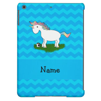Personalized name soccer unicorn blue chevrons iPad air cover
