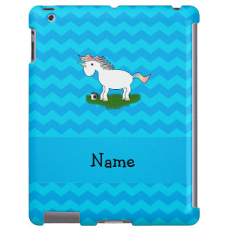 Personalized name soccer unicorn blue chevrons