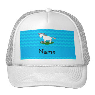 Personalized name soccer unicorn blue chevrons hat