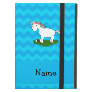 Personalized name soccer unicorn blue chevrons iPad air covers