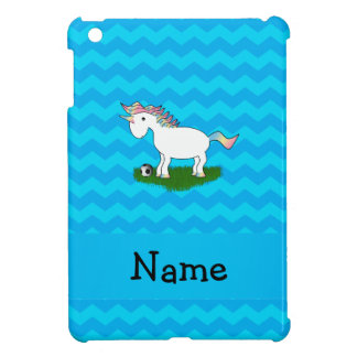 Personalized name soccer unicorn blue chevrons case for the iPad mini
