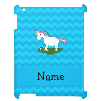 Personalized name soccer unicorn blue chevrons cover for the iPad