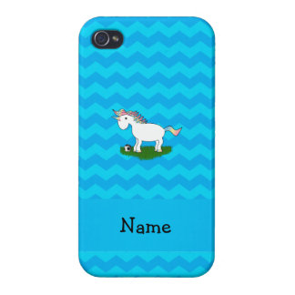Personalized name soccer unicorn blue chevrons iPhone 4 cases