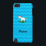 "Personalized name soccer unicorn blue chevrons iPod touch (5th generation) case<br><div class=""desc"">Cute unicorn gift ideas. Create your own custom Personalized just add name, monogram, or initials or saying on your cute cartoon rainbow unicorn with green grass and sports soccer ball with sky blue chevrons pattern background and blue stripe. Cute unicorn gift ideas for kids. Ideal for birthday parties and holidays....</div>"