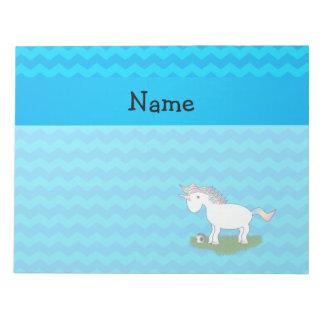 Personalized name soccer unicorn blue chevrons note pad