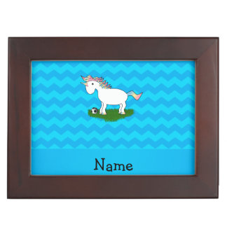 Personalized name soccer unicorn blue chevrons memory boxes