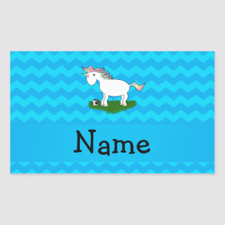 Personalized name soccer unicorn blue chevrons stickers