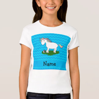 Personalized name soccer unicorn blue chevrons T-Shirt