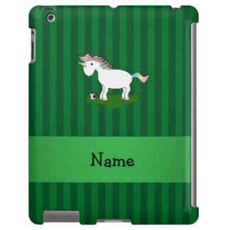 Personalized name soccer unicorn green stripes
