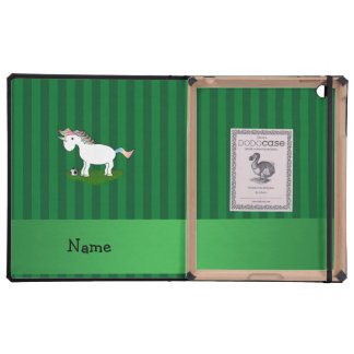 Personalized name soccer unicorn green stripes iPad cases
