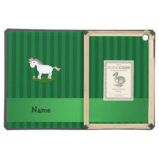 Personalized name soccer unicorn green stripes iPad air covers