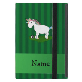 Personalized name soccer unicorn green stripes covers for iPad mini