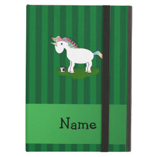 Personalized name soccer unicorn green stripes cover for iPad air