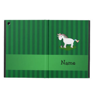 Personalized name soccer unicorn green stripes iPad air case