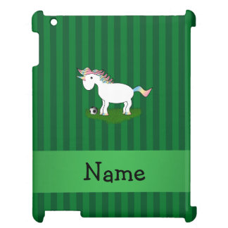 Personalized name soccer unicorn green stripes case for the iPad 2 3 4