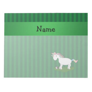 Personalized name soccer unicorn green stripes memo pads