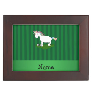 Personalized name soccer unicorn green stripes memory box