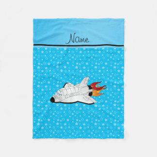 Personalized name space shuttle blue stars fleece blanket